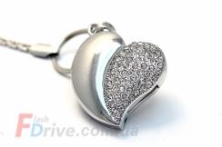 флешка-сердце под серебро