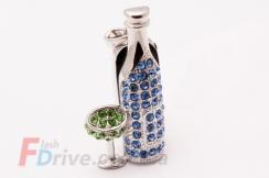 Бутылка с синими камнями
