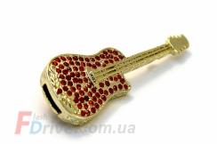 флешка-гитара с красными стразами