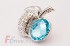 Флешка яблоко с голубым камнем