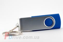 Синяя флешка с металлической скобой