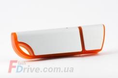 Оранжевая флешка с матовой металлической вставкой