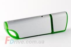 Зеленая флешка с матовой металлической вставкой