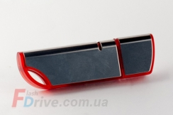 Красная флешка с глянцевой металлической вставкой