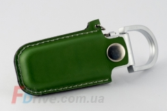 Зеленая кожаная флешка